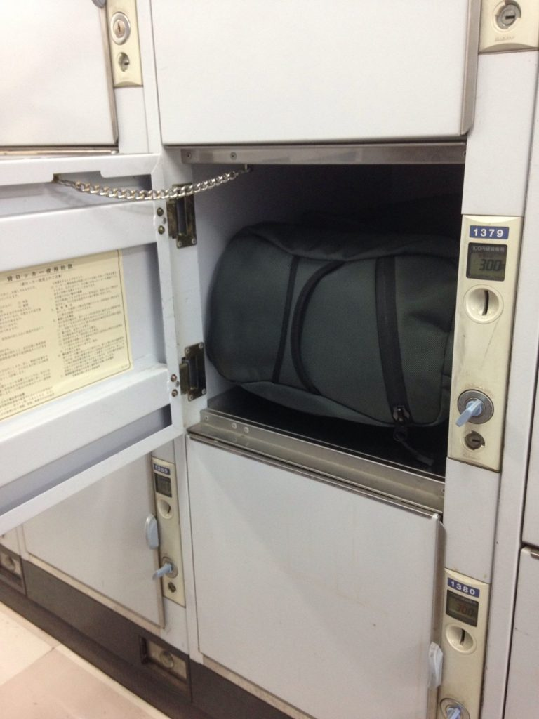 Tom Bihn Aeronaut fits into a Japanese coin locker.