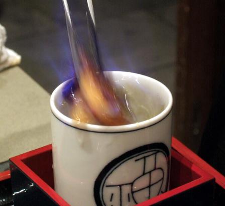 Blowfish Sake on Fire